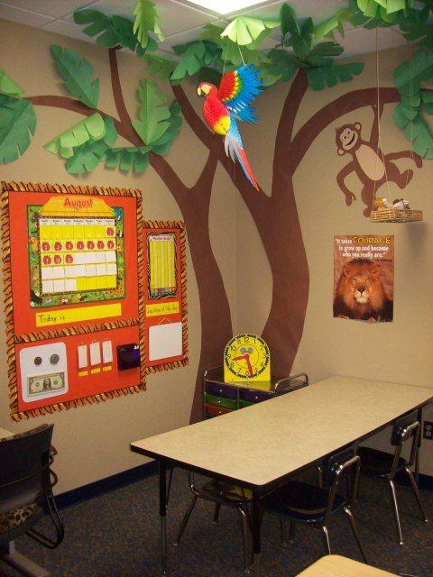 Jungle Classroom Decoration : Classroom corner tree with monkey jungle theme