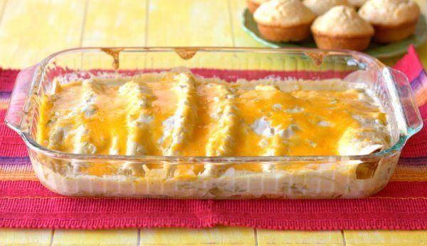 Chicken Enchiladas with Creamy Green Chile Sauce Casserole: Cheesy ...