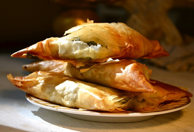Spanakopita {spinach pies} and check the rest of the blog too... curry ...