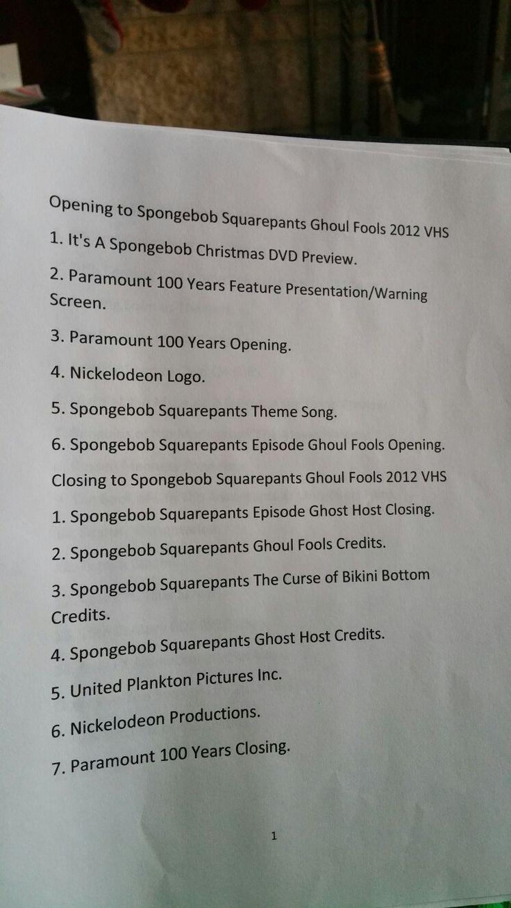 spongebob squarepants ghost fools vhs full screen spongebob