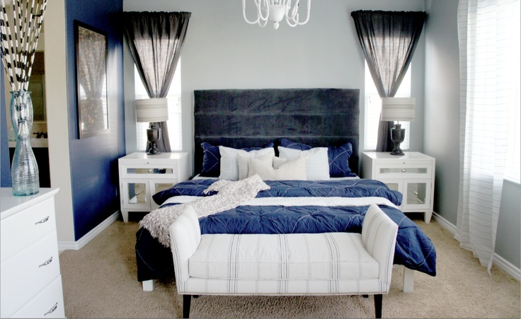 Navy Blue And Gray Bedroom
