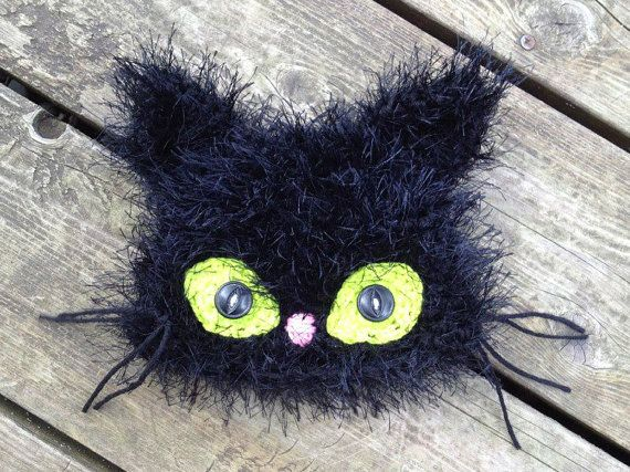 Free Crochet Black Cat Hat Pattern : Crochet Pattern for Black Cat Hat - 5 sizes, baby to adult ...