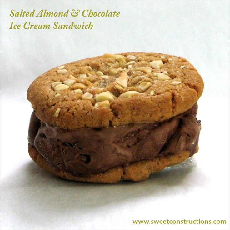 Salted almond cookie with chocolate ice cream