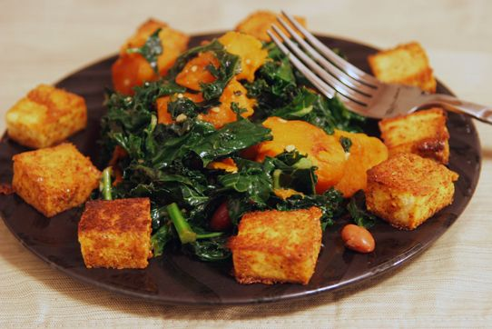 Mustard-Crusted Tofu With Kale And Sweet Potato Recipes — Dishmaps