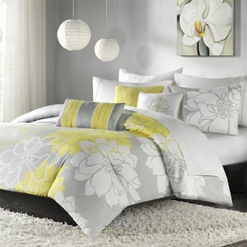 Yellow gray white bedding ideas 06 bedroom inspiration - White yellow and grey bedroom ...