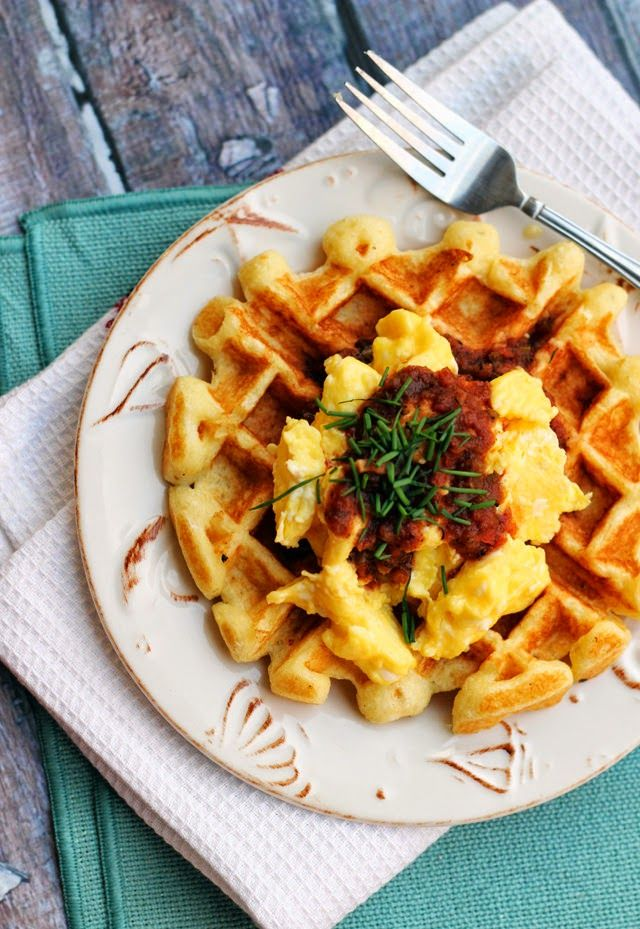 Actress: Savory Cornmeal Waffles with Eggs and Salsa #brunch #waffles ...