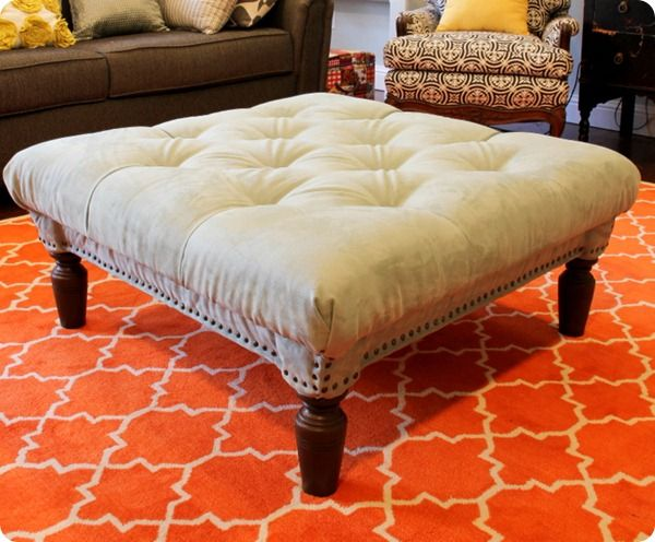 tutorial for tufted ottoman from old coffee table