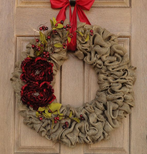 Burlap christmas wreath with red peony flowers burlap Burlap xmas wreath