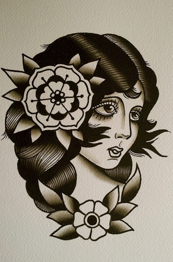 Face girl tattoo traditional tattoo old school girl for Old school female tattoos
