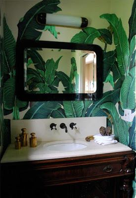 Mirtinique Banana Leaf wallpaper in bathroomBanana Leaf Wallpaper Bathroom