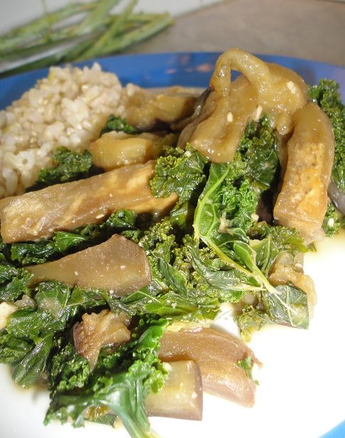 Miso Eggplant and Kale | Vegans Eat Yummy Food Too | Pinterest
