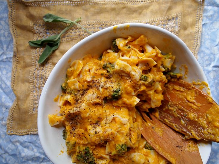Spelt farfalle in a creamy butternut squash sauce with roasted ...