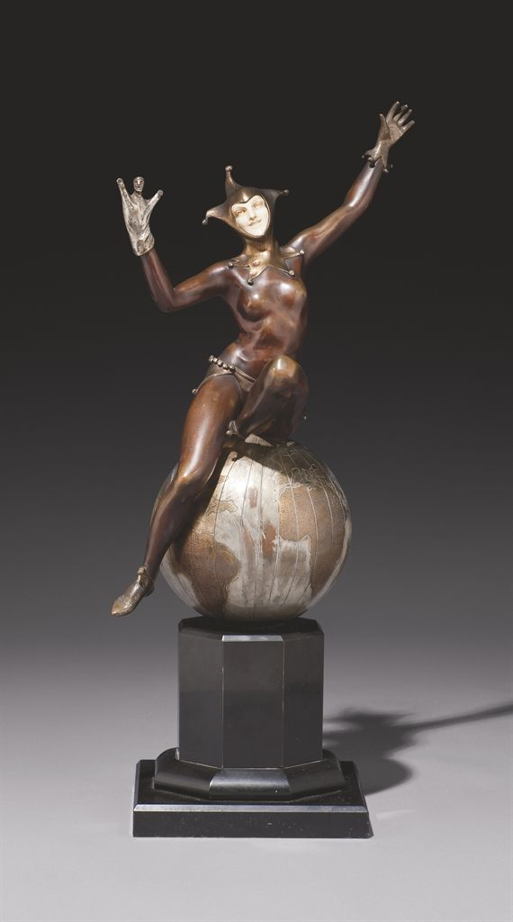'THE WORLD'S JESTER', A PATINATED, SILVERED AND GILT-BRONZE, IVORY AND MARBLE SCULPTURE, BY MAURICE GUIRAUD-RIVIÈRE, CIRCA 1930