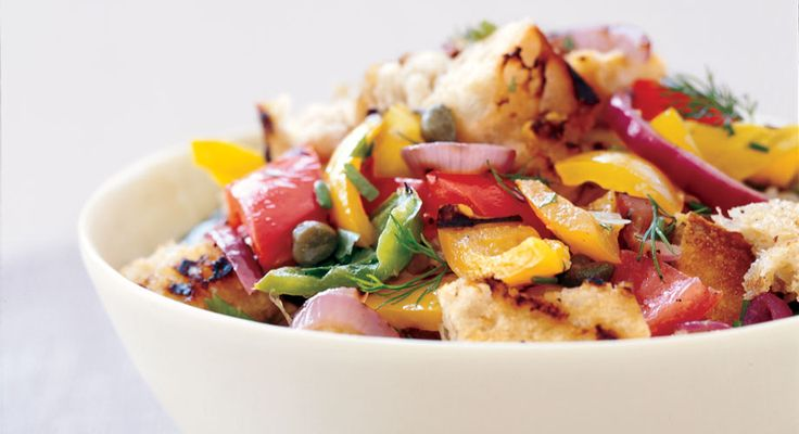 Panzanella Salad with Bell Peppers, Summer Squash, and Tomatoes ...