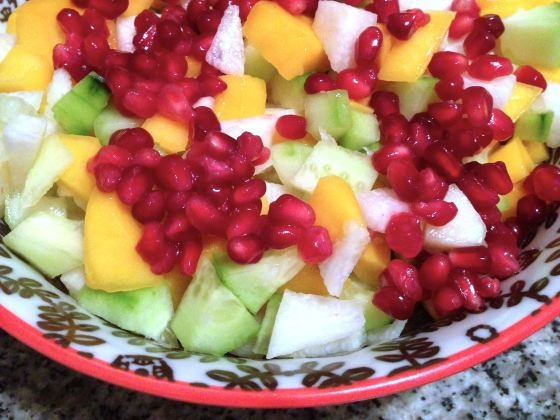 mango, cucumber, jicama salad with pomegranate seeds and chile-lime ...