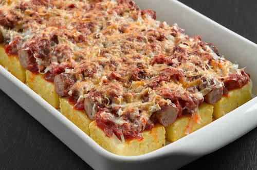 baked polenta with sausages and mushrooms.