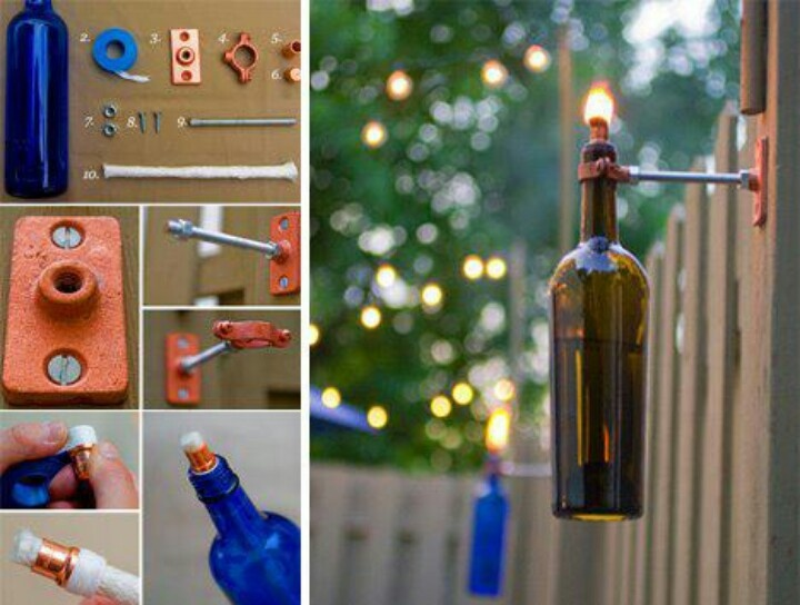 Beautiful homemade tiki torches great idea 39 s id like to for Wine bottle patio lights