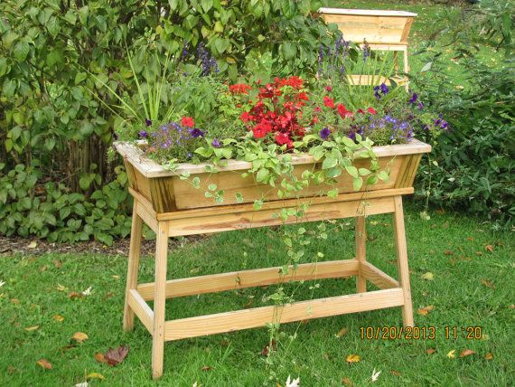 Tall outdoor wooden planter flower box for Flower garden box ideas
