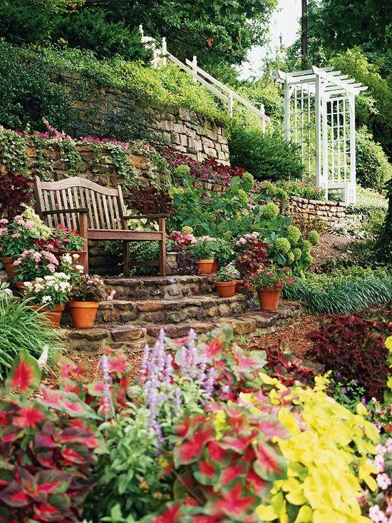 Sloping garden ideas outdoor space pinterest for Garden designs for sloping gardens