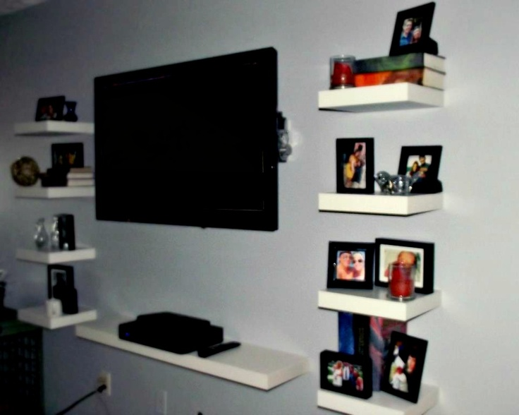Floating ikea lack shelves as an entertainment center for Floating entertainment center ikea