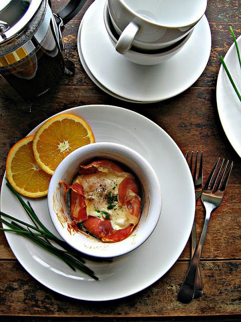 baked eggs with prosciutto and parm | Foodie | Pinterest