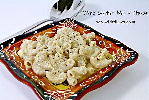 Homemade White Cheddar Macaroni & Cheese http://www.addictedtosaving ...