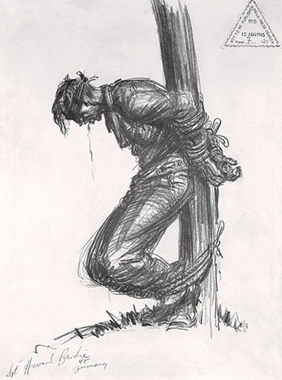 During the Battle of the Bulge, German soldiers disguised in American or British uniforms penetrated allied lines. About sixteen were executed. Howard Brodie's sketch of an executed German soldier was censored at the time.