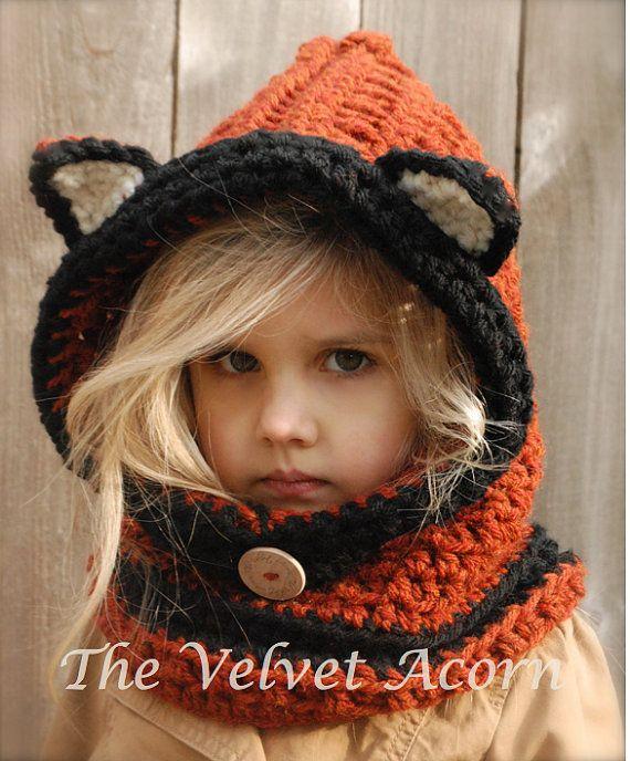 Crochet Fox Hat : CROCHET PATTERN-Flint Fox Cowl (12/18 months, Toddler, Child, Adult ...
