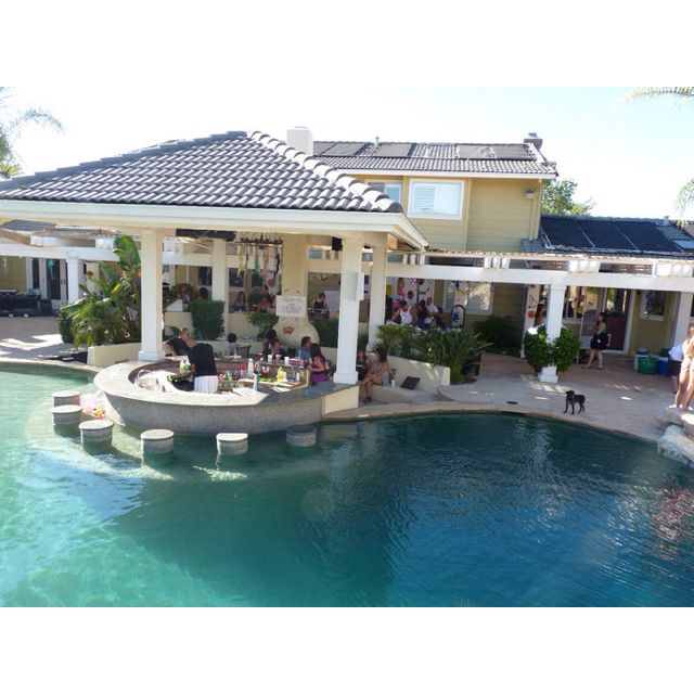 Pictures Of Outdoor Pools And Kitchens : Backyard, outdoor kitchen, pool, & in pool bar seating  Backyard