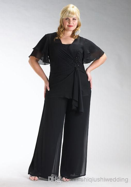 Wholesale Mother of the Bride Dress - Buy 2014 New Chiffon Plus Size Short Sleeve Mother of the Bride Pants Suits with Jacket And Square Neckline Custom Made, $84.56 | DHgate