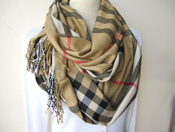 Camel Tan Brown Classic Plaid Scarf Plaid Infinity Scarf