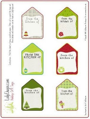 Holiday tags and jar toppers--cute--I used them last year