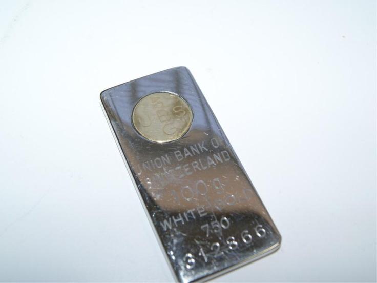 18k white gold bar 100 grams c silver lining