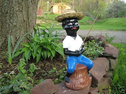 Black fishing boy concrete statue pond lawn jockey for Little boy fishing statue
