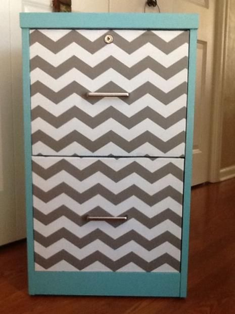 Chevron contact paper dolls up a blah wooden filing cabinet... cute ...