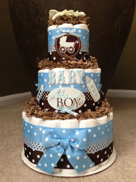 Blue and brown boy diaper cake for baby shower decoration for Baby shower decoration diaper cake