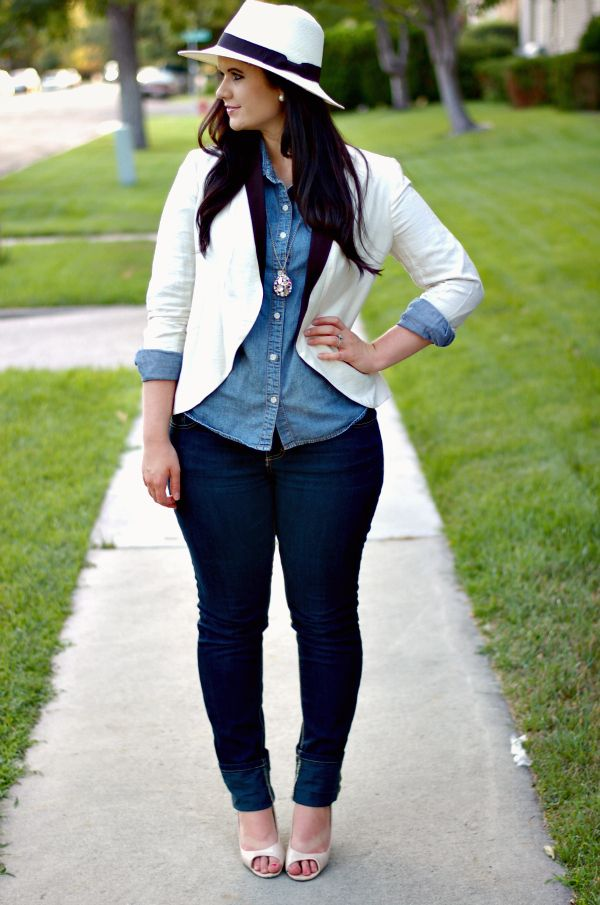 White blazer + chambray