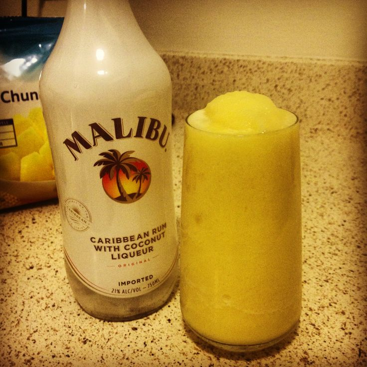 Homemade piña colada... Recipe: Malibu rum, frozen pineapple pieces ...