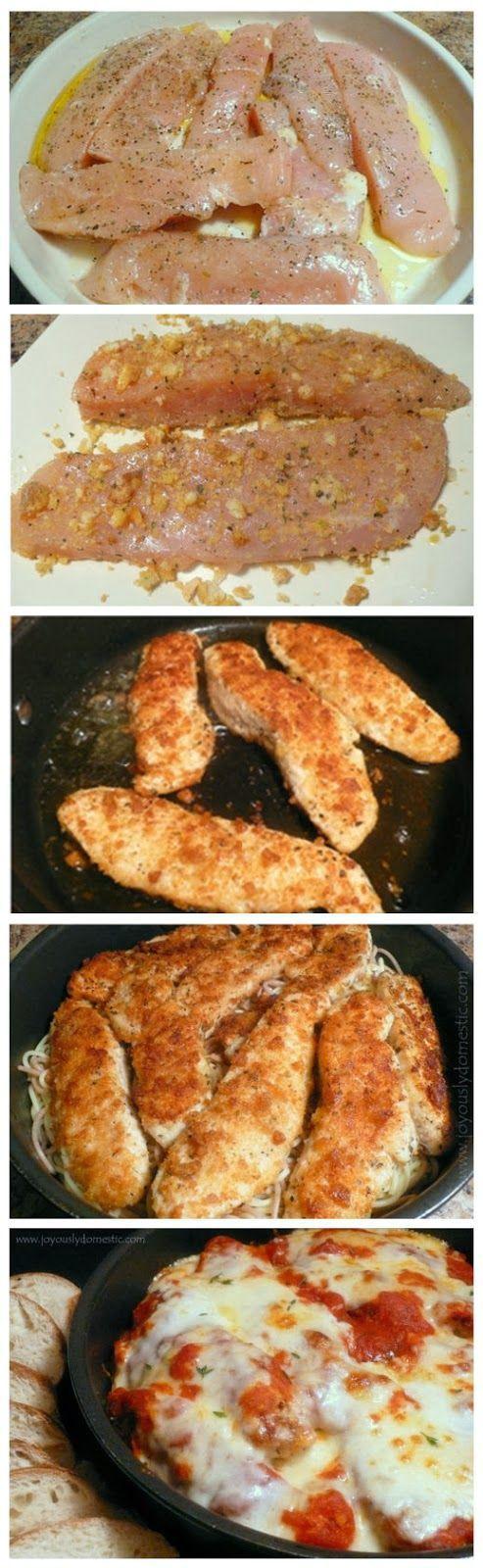 Skillet Chicken Parmesan Over Pasta | Dinner | Pinterest