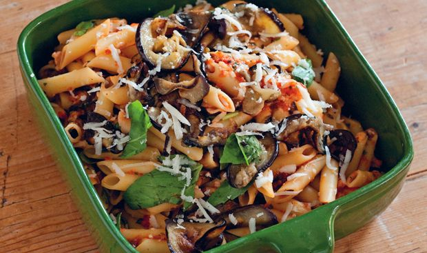 Penne norma with eggplant tomatoes and basil