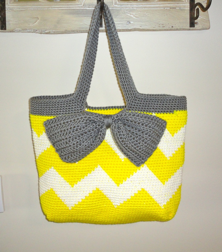 Free Crochet Chevron Purse Pattern : Neon Yellow Chevron Stripe Crochet Tote Bag - Neon Yellow ...