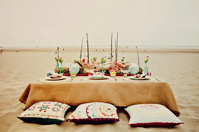 Gorgeous beach wedding tablescape.