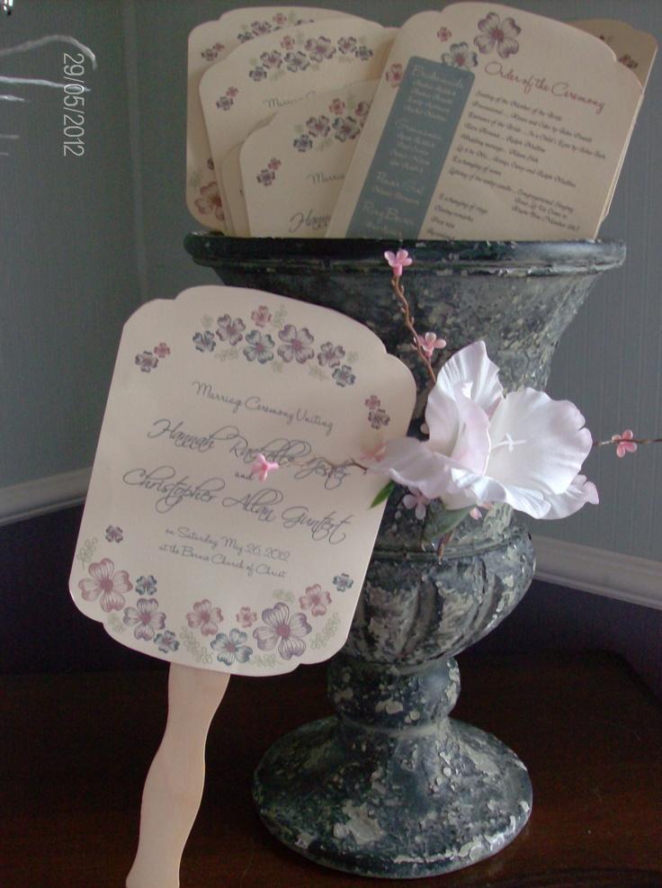 DIY Wedding Program Fan Wedding Invitations Paper Pinterest