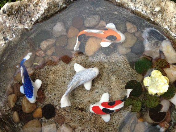 Miniature koi pond 9 fairy garden accessory home decor for Koi fish pond decorations