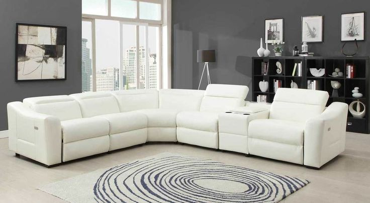 Conti white bonded leather power recliner sofa couch for White sofa set living room