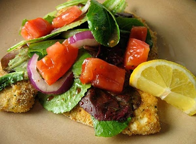 Baked Chicken Milanese with Arugula and Tomatoes | Recipe