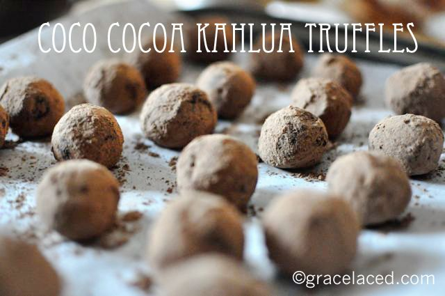Kahlua Truffles...think Almond Joy + Chocolate truffle! I see truffles ...