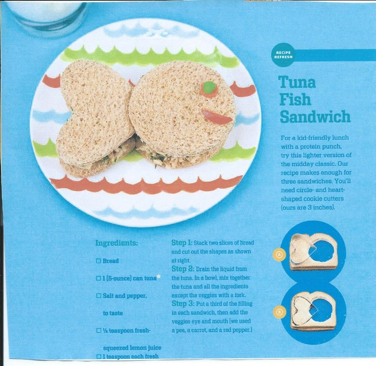 Tuna Fish Sandwich for Kids   Meals for Connor   Pinterest