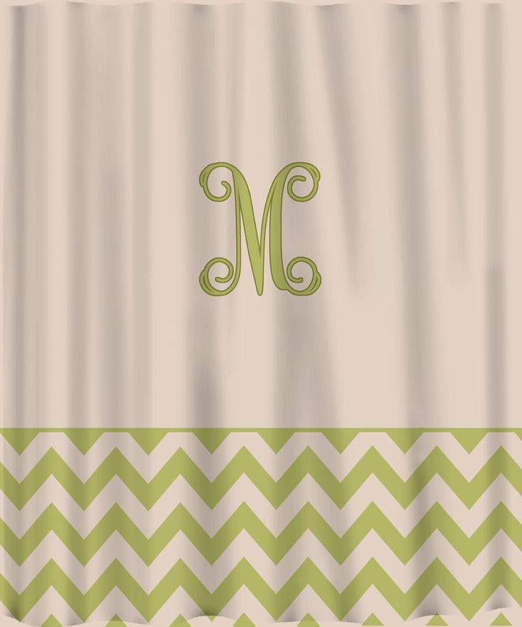 custom shower curtain solid with chevron lower border