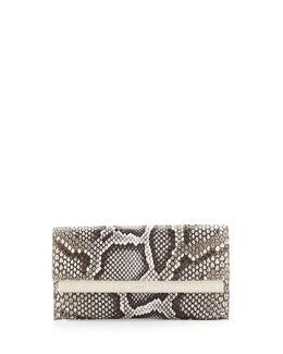 V1UZX Nancy Gonzalez Python Crocodile-Bar Clutch Bag, Natural